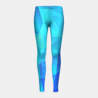 Thumbnail image of Abstract Polygon Multi Color Cubizm Painting in ice blue Girl's Leggings, Live Heroes