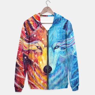 Thumbnail image of fire and ice wolf Hoodie, Live Heroes