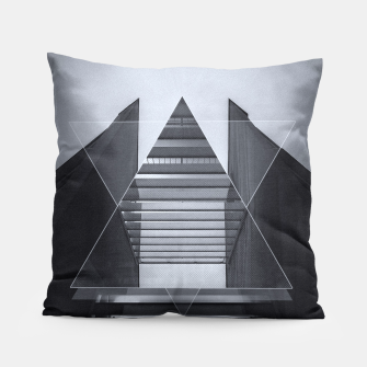 Miniaturka The Hotel (experimental futuristic architecture photo art in modern black & white) Pillow, Live Heroes