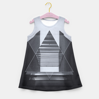 Miniaturka The Hotel (experimental futuristic architecture photo art in modern black & white) Girl's Summer Dress, Live Heroes