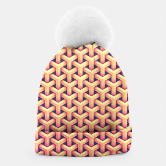 Thumbnail image of Optical illusion - Impossible Pattern -  Gold Grid Pattern Beanie, Live Heroes