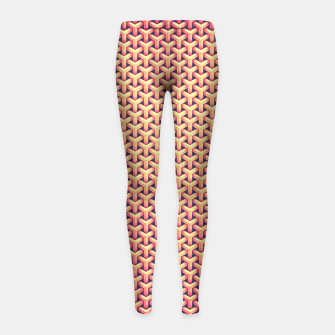 Thumbnail image of Optical illusion - Impossible Pattern -  Gold Grid Pattern Girl's Leggings, Live Heroes