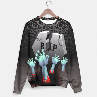 Thumbnail image of Zombies Bloody Hands on Cemetery Sweater, Live Heroes