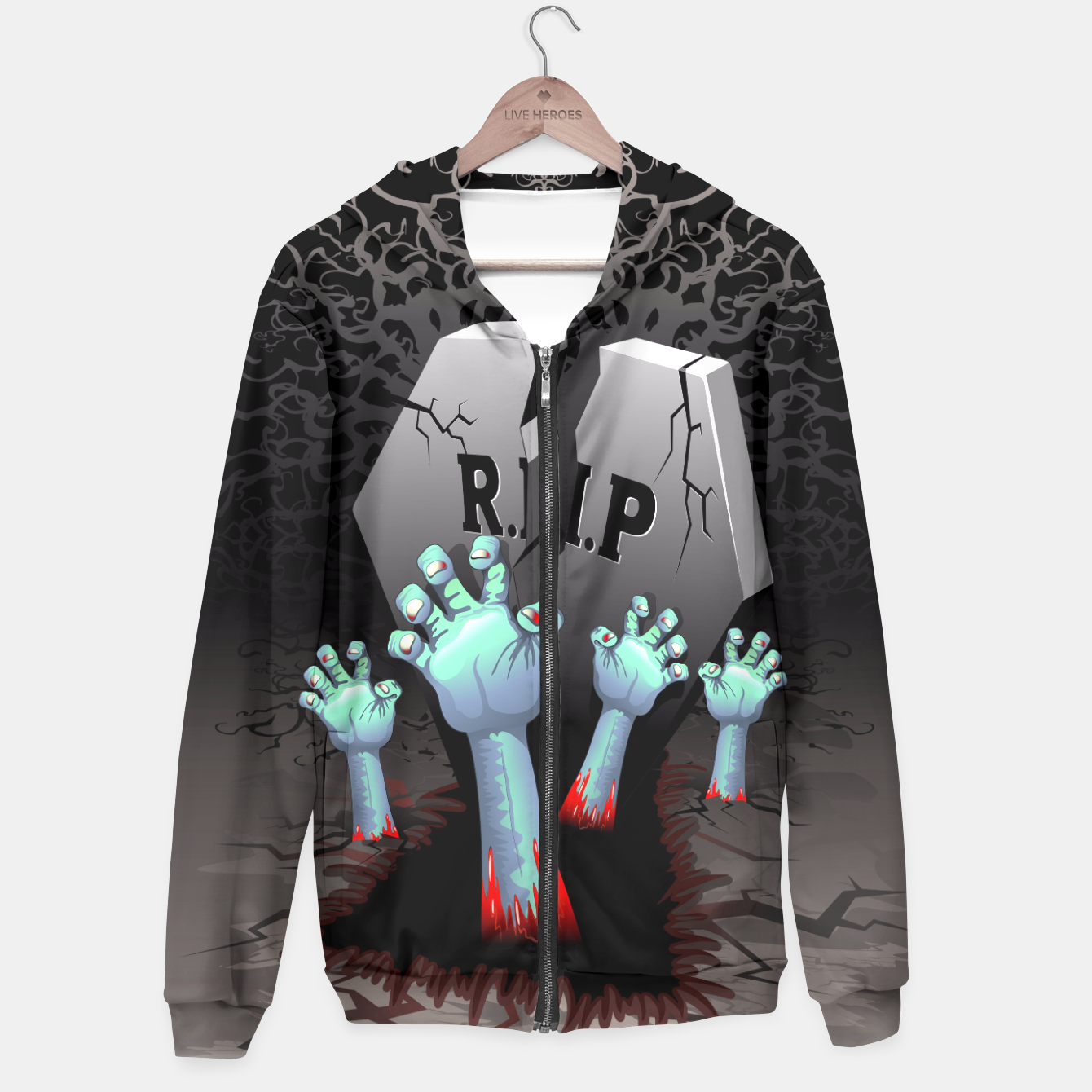 Image of Zombies Bloody Hands on Cemetery Hoodie - Live Heroes
