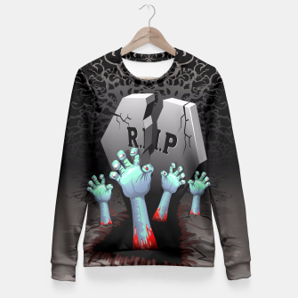 Miniatur Zombies Bloody Hands on Cemetery Fitted Waist Sweater, Live Heroes