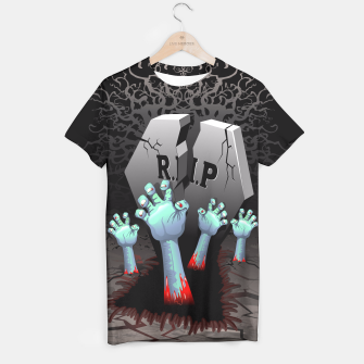 Miniatur Zombies Bloody Hands on Cemetery T-shirt, Live Heroes
