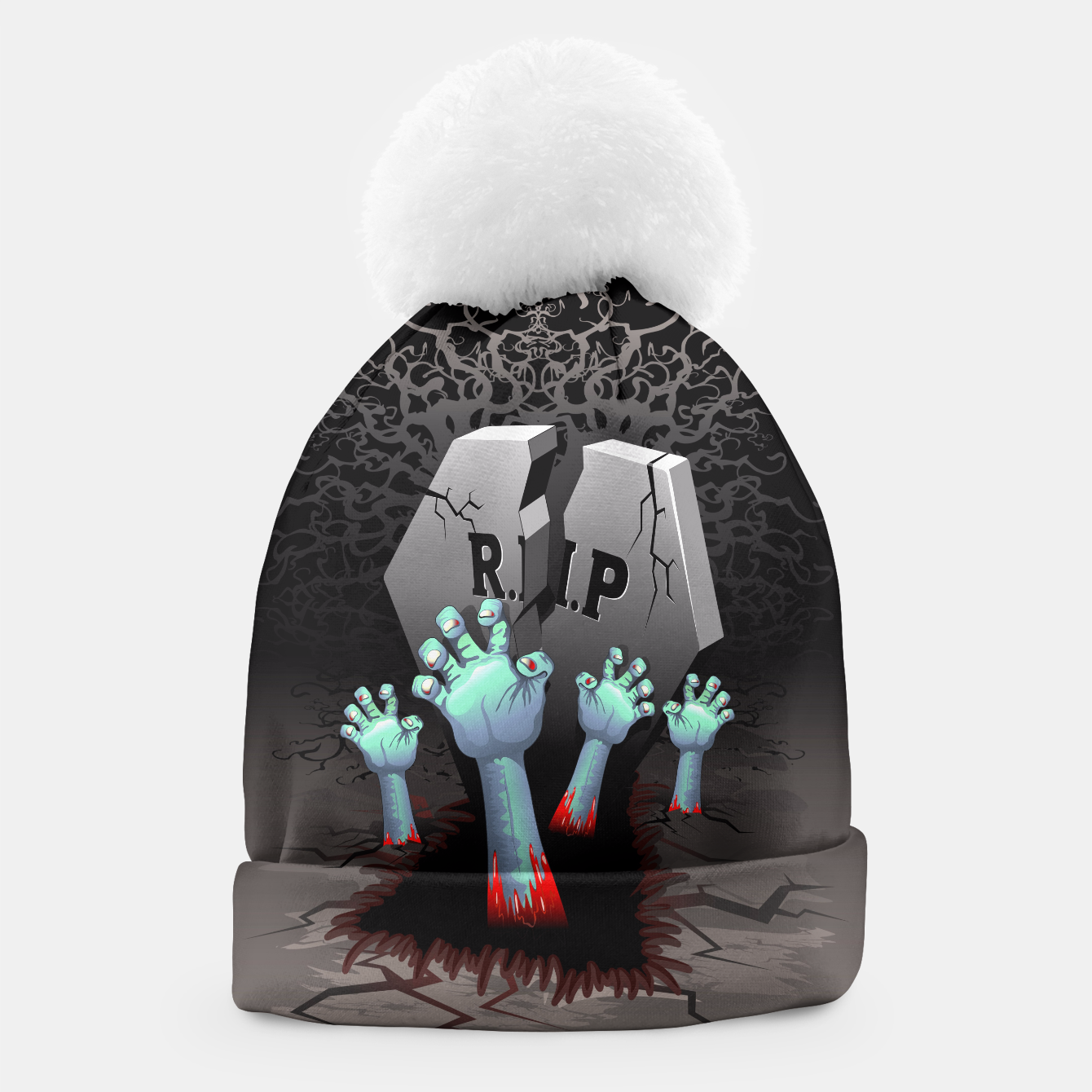 Image of Zombies Bloody Hands on Cemetery Beanie - Live Heroes