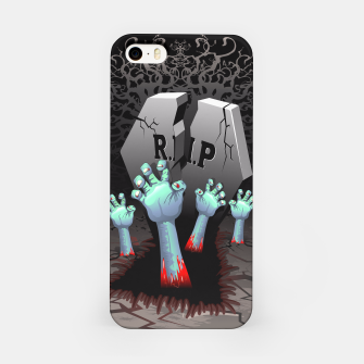 Miniatur Zombies Bloody Hands on Cemetery iPhone Case, Live Heroes