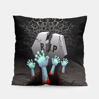 Miniatur Zombies Bloody Hands on Cemetery Pillow, Live Heroes