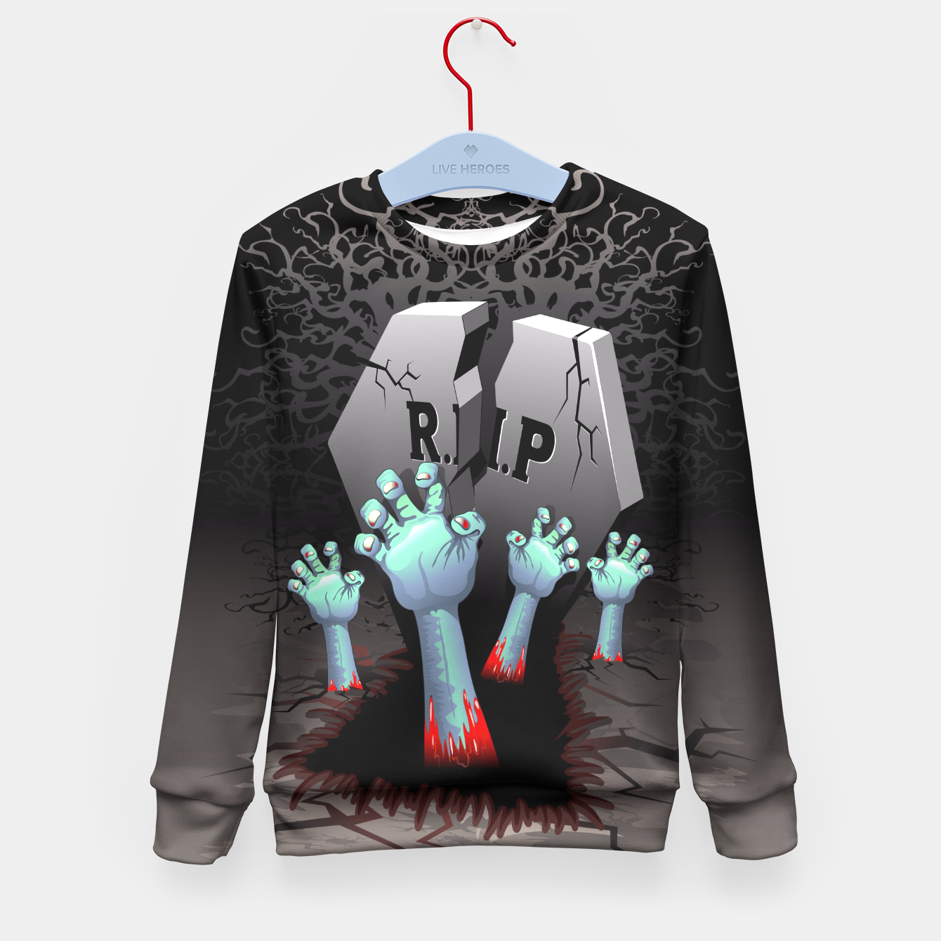 Image of Zombies Bloody Hands on Cemetery Kid's Sweater - Live Heroes