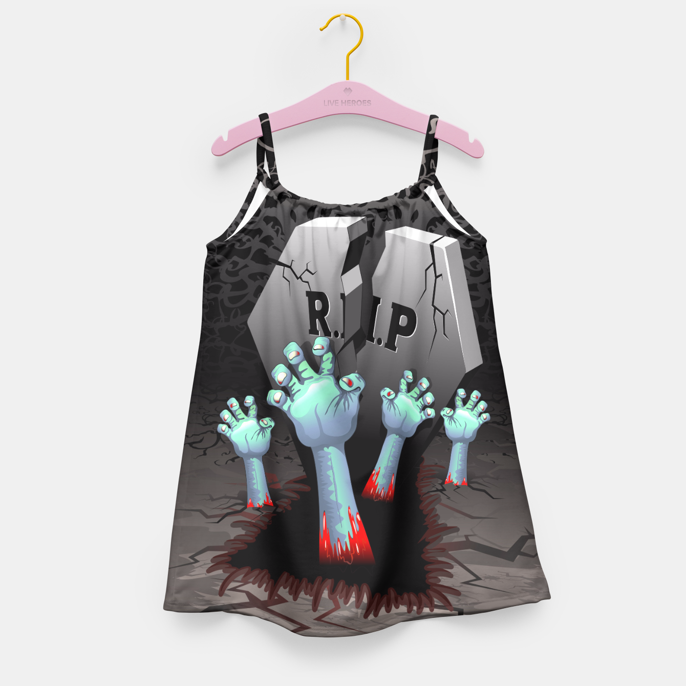 Image of Zombies Bloody Hands on Cemetery Girl's Dress - Live Heroes