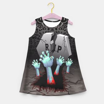 Miniatur Zombies Bloody Hands on Cemetery Girl's Summer Dress, Live Heroes