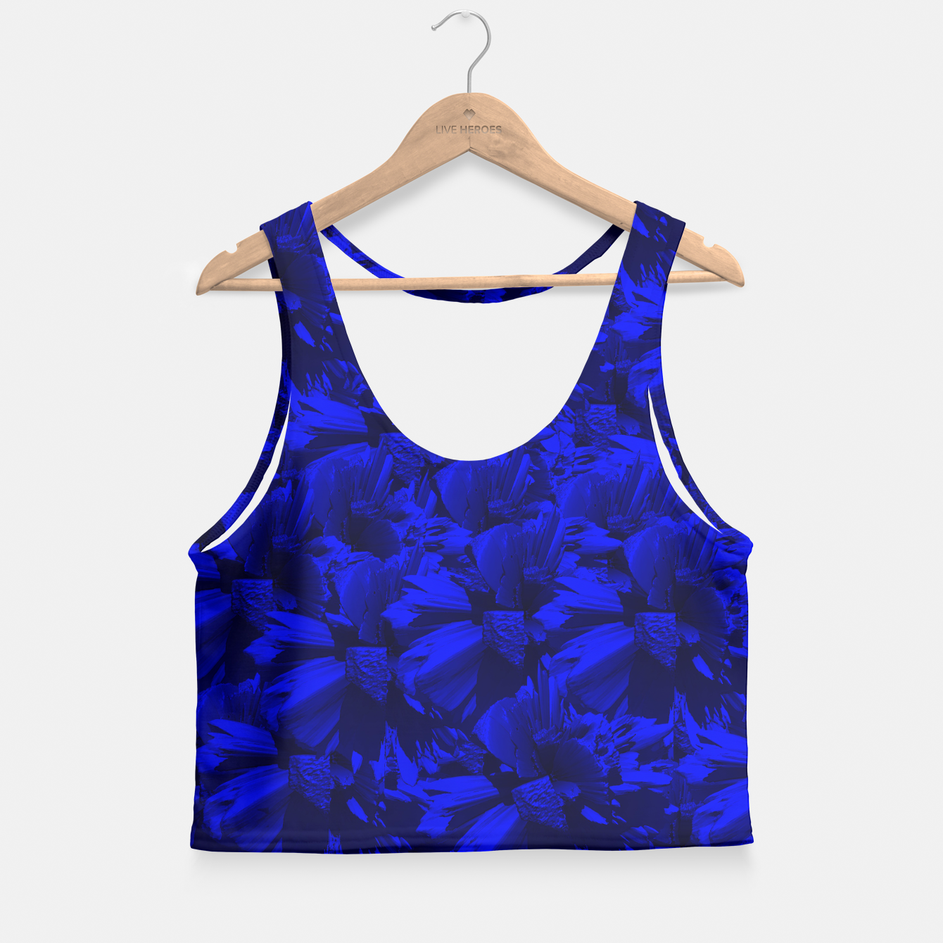 Image of A202 Rich Blue and Black Abstract Design Crop Top - Live Heroes