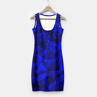 A202 Rich Blue and Black Abstract Design Simple Dress thumbnail image