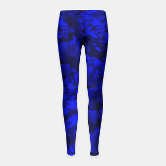 A202 Rich Blue and Black Abstract Design Girl's Leggings thumbnail image