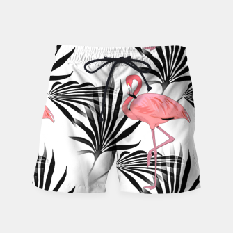 Thumbnail image of Pink Flamingos Palm Fronds Swim Shorts, Live Heroes