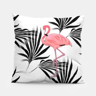 Thumbnail image of Pink Flamingos Palm Fronds Pillow, Live Heroes