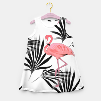 Thumbnail image of Pink Flamingos Palm Fronds Girl's Summer Dress, Live Heroes