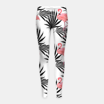 Thumbnail image of Pink Flamingos Palm Fronds Girl's Leggings, Live Heroes