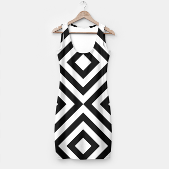 Thumbnail image of Geometric Black and White Line Pattern Simple Dress, Live Heroes