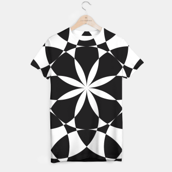 Black and white flower mandala mosaic T-shirt thumbnail image