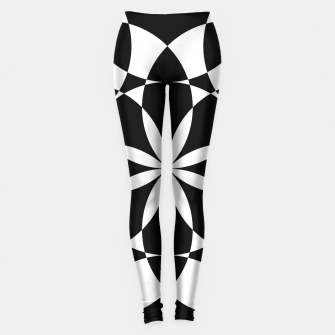 Black and white flower mandala mosaic Leggings thumbnail image