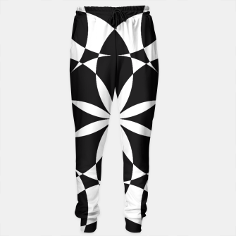 Black and white flower mandala mosaic Sweatpants thumbnail image