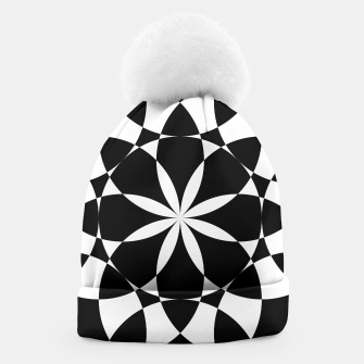 Black and white flower mandala mosaic Beanie thumbnail image