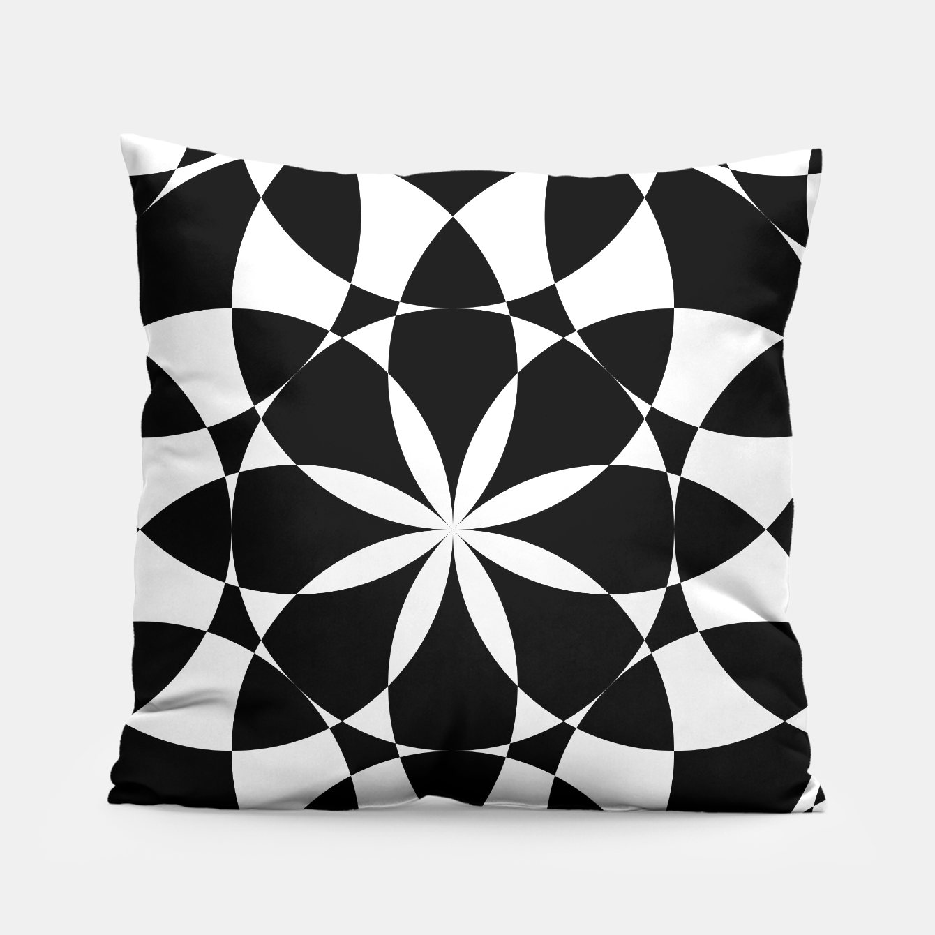 Image of Black and white flower mandala mosaic Pillow - Live Heroes