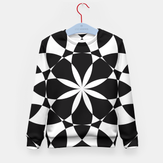 Black and white flower mandala mosaic Kid's Sweater thumbnail image