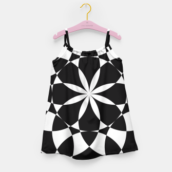 Black and white flower mandala mosaic Girl's Dress thumbnail image