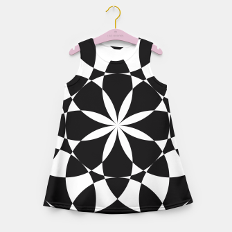 Black and white flower mandala mosaic Girl's Summer Dress thumbnail image