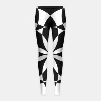 Black and white flower mandala mosaic Girl's Leggings thumbnail image