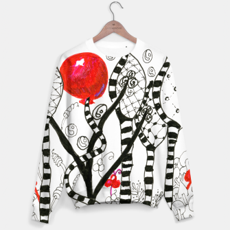 Thumbnail image of Pop of Color, Red Balloon Zendoodle in Fanciful Forest Sweater, Live Heroes
