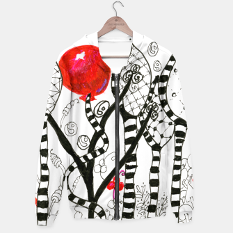 Thumbnail image of Pop of Color, Red Balloon Zendoodle in Fanciful Forest Hoodie, Live Heroes