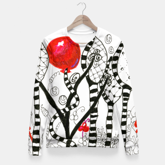 Thumbnail image of Pop of Color, Red Balloon Zendoodle in Fanciful Forest Fitted Waist Sweater, Live Heroes