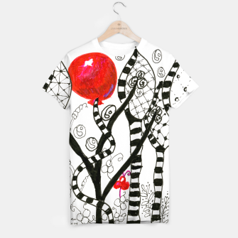 Thumbnail image of Pop of Color, Red Balloon Zendoodle in Fanciful Forest T-shirt, Live Heroes