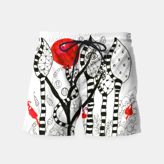 Thumbnail image of Pop of Color, Red Balloon Zendoodle in Fanciful Forest Swim Shorts, Live Heroes