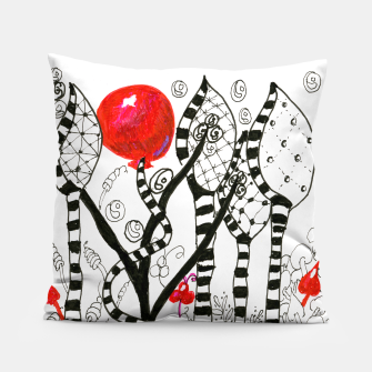 Thumbnail image of Pop of Color, Red Balloon Zendoodle in Fanciful Forest Pillow, Live Heroes