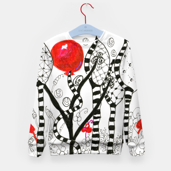 Thumbnail image of Pop of Color, Red Balloon Zendoodle in Fanciful Forest Kid's Sweater, Live Heroes