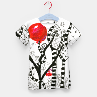 Thumbnail image of Pop of Color, Red Balloon Zendoodle in Fanciful Forest Kid's T-shirt, Live Heroes