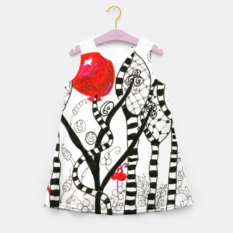 Thumbnail image of Pop of Color, Red Balloon Zendoodle in Fanciful Forest Girl's Summer Dress, Live Heroes