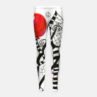 Thumbnail image of Pop of Color, Red Balloon Zendoodle in Fanciful Forest Girl's Leggings, Live Heroes