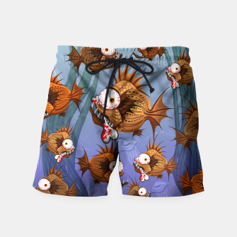 Thumbnail image of Psycho Fish Piranha with Bloody Bone Swim Shorts, Live Heroes