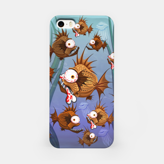 Psycho Fish Piranha with Bloody Bone iPhone Case thumbnail image