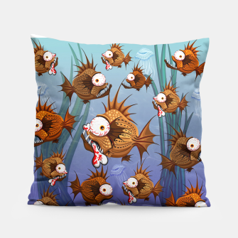 Psycho Fish Piranha with Bloody Bone Pillow thumbnail image