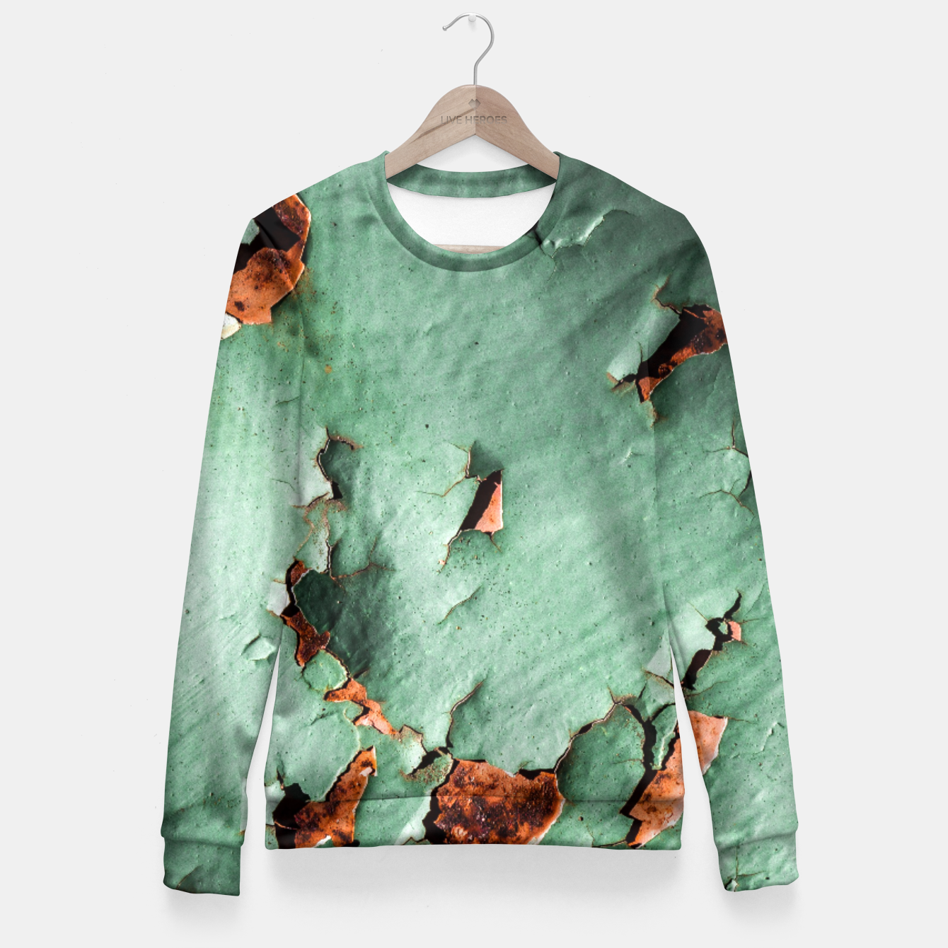 Image of Cool turquoise brown rusty metal  Fitted Waist Sweater - Live Heroes