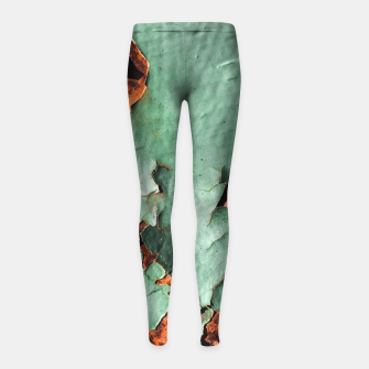 Cool turquoise brown rusty metal  Girl's Leggings thumbnail image