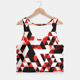 Triangle Geometric Vibrant Red Smoky Galaxy Crop Top thumbnail image