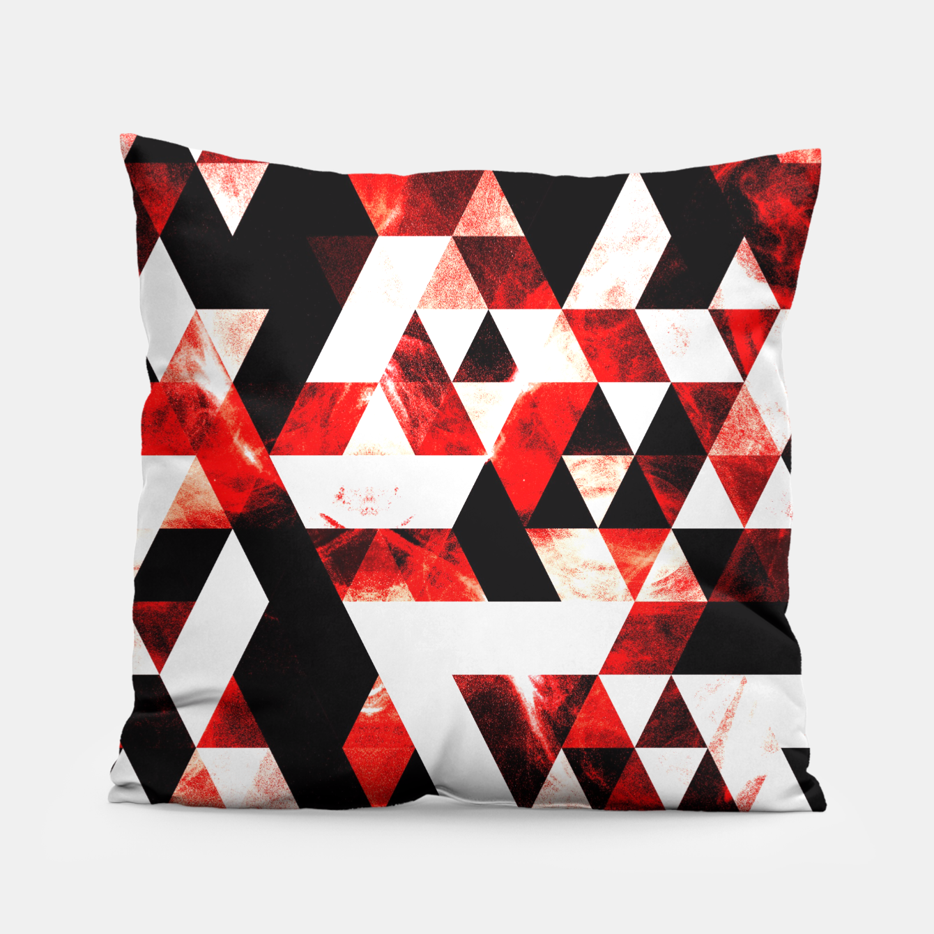 Image of Triangle Geometric Vibrant Red Smoky Galaxy Pillow - Live Heroes